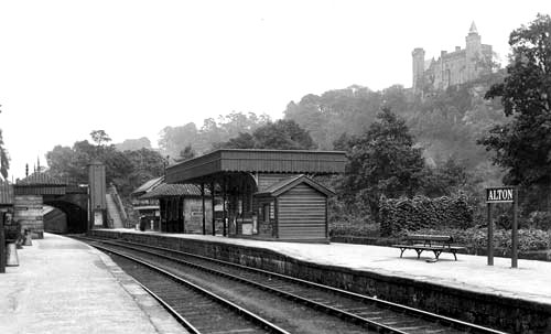 Alton station with the towers on hill above